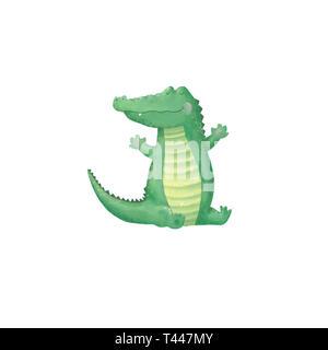 Krokodil digital clip art Niedliche Tier niedlich Zeichnung Charakter funny kid Stil auf weißem Hintergrund - Stockfoto