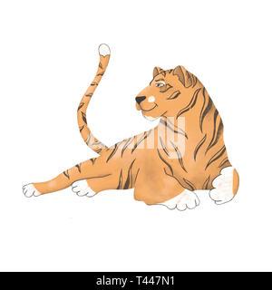 Tiger digital clip art Niedliche Tier von Afrika cat cute Zeichnung Charakter funny kid Stil auf weißem Hintergrund - Stockfoto