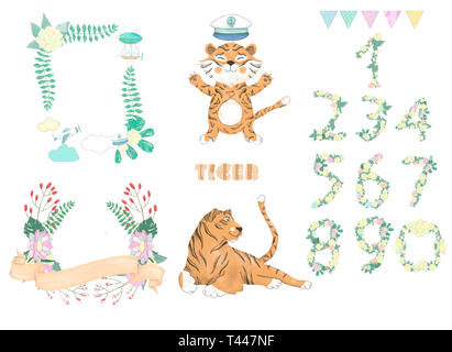 Tiger digital clip art Niedliche Tier und Blumen für Karte, Poster, - Stockfoto