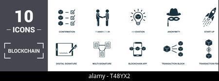 Blockchain eingestellt icons Collection. Enthält einfache Elemente wie Bestätigung, Transaktion, Innovation, Anonymität, Start Up, Multi-Signature und Bloc - Stockfoto