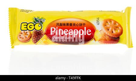 Winneconne, WI - 13. April 2019: ein Paket Ego Ananas marmelade Kekse Cookies auf einer isolierten Hintergrund