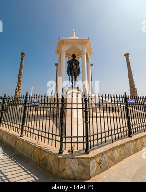 Vertikale Ansicht der Gandhi Memorial in Pondicherry, Indien. - Stockfoto
