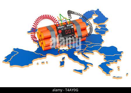 Terroranschläge in der Europäischen Union. 3D-Rendering auf weißem Hintergrund - Stockfoto