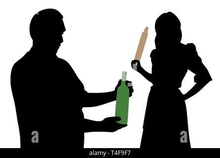 Mann sucht an der Flasche Alkohol und böse Frau holding Rolling Pin. Familie problem Alkoholismus. - Stockfoto