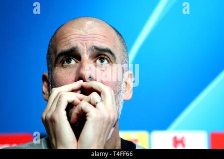 Manchester City Manager Pep Guardiola während der Pressekonferenz in der Stadt Football Academy, Manchester.