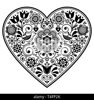 Scandinavian Folk Herz vektor design, Valentinstag, Geburtstag oder Hochzeit Grußkarte, florales Muster, in Schwarz und Weiß - Stockfoto