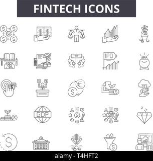 Fintech Zeile für Symbole, Zeichen, Vektor. Fintech Entwurfskonzept Abbildung: fintech, Finanzen, Business, Geld, Technologie, Finanzen, Zahlung, Konzept, Ziffer - Stockfoto