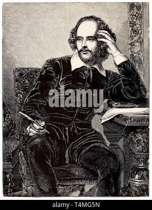 William Shakespeare (1564-1616), Porträt Radierung, 1898 - Stockfoto