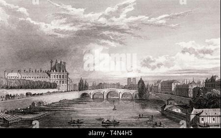 Panorama von Paris, Notre-Dame de Paris, antike Stahl Gravierte drucken, 1831 - Stockfoto