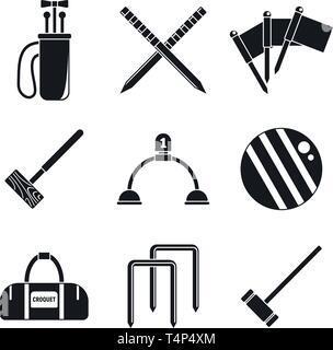 Krocket sport Icons einstellen. Einfache Krocket sport Vector Icons für Web Design auf weißem Hintergrund - Stockfoto