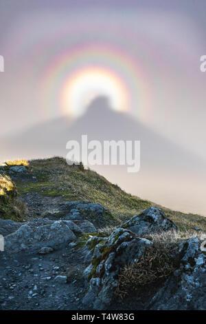 Doppel brocken Gespenst von Mountain Summit - Stockfoto