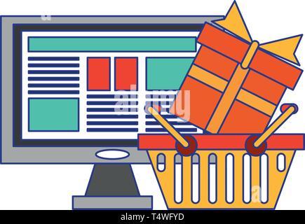 Online Shopping und Zahlung blaue Linien - Stockfoto