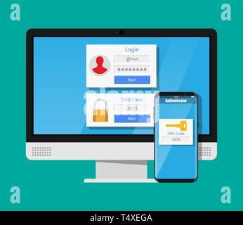 Zwei Schritte Authentifizierung Konzept. Computer Monitor mit Login berücksichtigt und Smartphone mit SMS-App. Duo Überprüfung durch Telefon- und approvement. Vec - Stockfoto