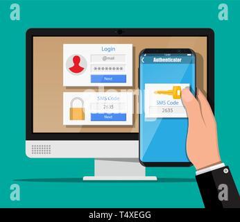 Zwei Schritte Authentifizierung Konzept. Computer Monitor mit Login berücksichtigt und die Hand mit Smartphone mit SMS-App. Duo Überprüfung durch Telefon und Zustimmung - Stockfoto
