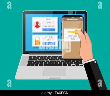 Zwei Schritte Authentifizierung Konzept. Laptop mit Login berücksichtigt und die Hand mit Smartphone mit SMS-App. Duo Überprüfung durch Telefon- und approvement. Vec - Stockfoto