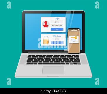 Zwei Schritte Authentifizierung Konzept. Laptop mit Login berücksichtigt und Smartphone mit SMS-App. Duo Überprüfung durch Telefon- und approvement. Vektor illust - Stockfoto
