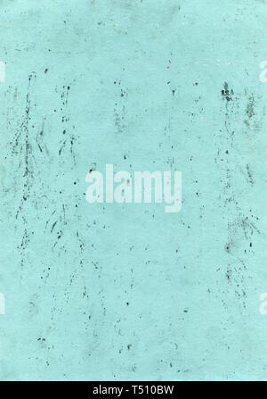 Abstrakte aqua Hintergrund. Grüner Hintergrund in grunge Stil mit Flecken, Kratzer, Fingerabdrücke und bunten kleinen Punkten. Papier Textur - Stockfoto