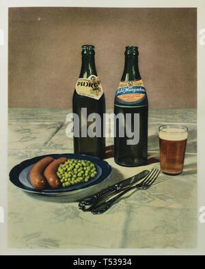 Sowjetische Flaschenbier und Zhigulevskoye Rizhskoye serviert für Würstchen mit Erbsen in der Farbe Abbildung im Buch der Schmackhafte und gesunde Lebensmittel in der Sowjetunion veröffentlicht (1953). - Stockfoto