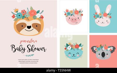Süße Tiere Köpfe mit blume Krone, Vektorgrafiken für das Kinderzimmer Design, Poster, Geburtstag Grußkarten. Panda, Lama, Fox, Koala, Katze, Hund - Stockfoto