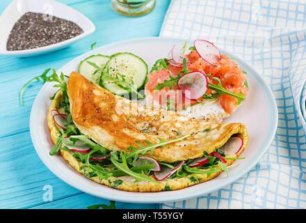 Frühstück. Omelett mit Radieschen, Rucola und Sandwich mit Lachs auf weiße Platte. Frittata - italienische Omelette. - Stockfoto
