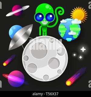 Astronaut Aufenthalt auf Planeten oder Mond und begrüßt uns. druckt Vector Illustration. Lustige Spaceman - Stockfoto
