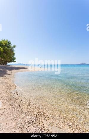 Pine Beach, Pakostane, Kroatien, Europa - Natur Pur am Strand von Pakostane - Stockfoto