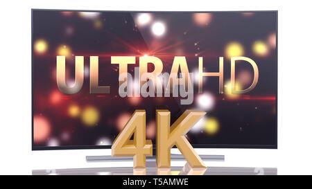 UltraHD Smart TV mit gekrümmten Leinwand auf weißem Hintergrund - Stockfoto