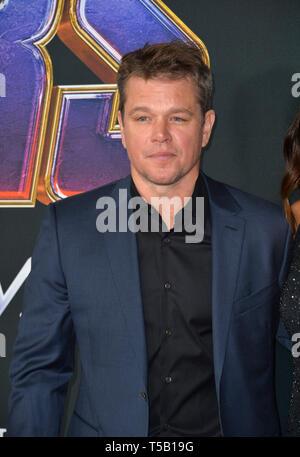 "Los Angeles, USA. 22 Apr, 2019. LOS ANGELES, USA. April 22, 2019: Matt Damon bei der Weltpremiere von ""Marvel Studios"" Avengers: Endgame"". Credit: Paul Smith/Alamy leben Nachrichten - Stockfoto"