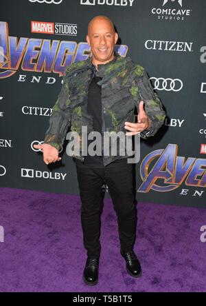 "Los Angeles, USA. 22 Apr, 2019. LOS ANGELES, USA. April 22, 2019: Vin Diesel bei der Weltpremiere von ""Marvel Studios"" Avengers: Endgame"". Credit: Paul Smith/Alamy leben Nachrichten - Stockfoto"
