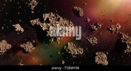 Eine Gruppe von Asteroiden beleuchtet durch die goldene Sonne, asteroidengürtel Raum Szene (3D-Rendering) - Stockfoto