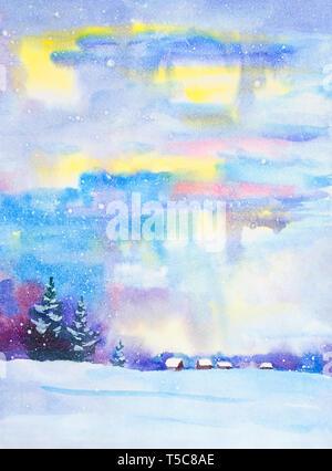 Aquarell Nacht Landschaft. Country house im Winter. Winter, Landschaft, Schnee, Schneeverwehungen, Zaun. Nacht, Abend, Hütte. Eine starke Silhouette von Bäumen, f - Stockfoto