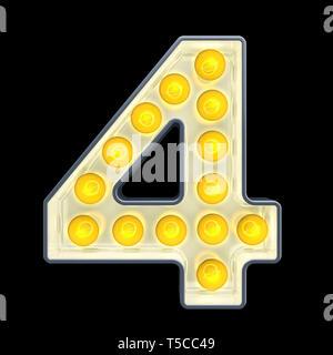 Glühlampe Nummer 4, retro Leuchtende Schrift. 3D-Rendering auf schwarzem Hintergrund - Stockfoto