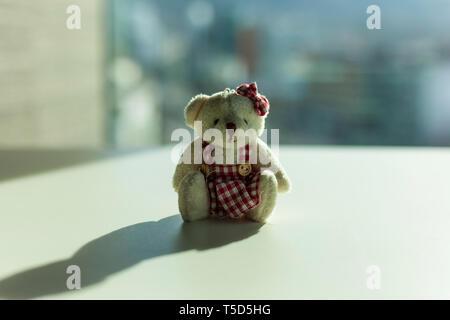 Kleiner Teddybär, sitzend auf einem Tisch - Stockfoto