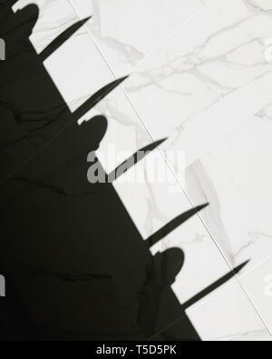 Klinge wie Schatten, auf Marmorwand. - Stockfoto