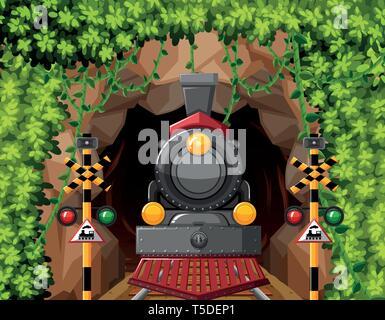 Ein Zug im Tunnel Szene Abbildung - Stockfoto