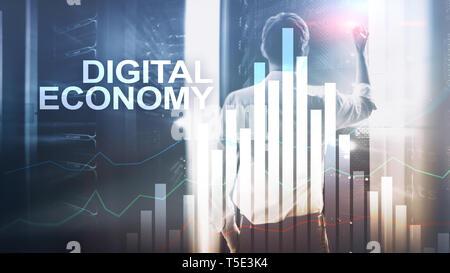 Digitale Wirtschaft, Technologie Konzept auf verschwommenen Hintergrund. - Stockfoto