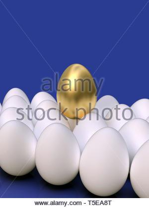 Goldene Ei in die Gruppe der regelmäßigen weiße Eier in einem Haufen angeordnet, stehend, auf bunten Hintergrund. Symbol der Führung, besonders, einzigartig, wertvoll. - Stockfoto