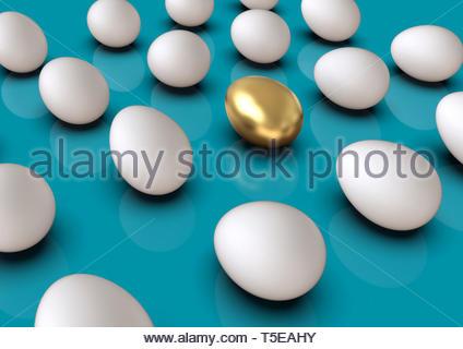 Goldene Ei in die Gruppe der regelmäßigen weiße Eier in einem Raster angeordnet, stehend, auf bunten Hintergrund. Symbol der Führung, besonders, einzigartig, wertvoll. - Stockfoto