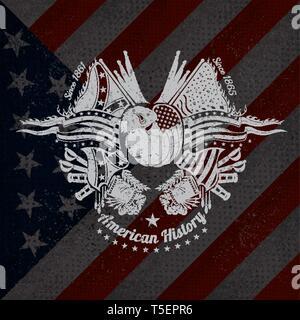 Weißer Druck mit Bison Kopf und vintage Waffen auf USA-Flagge im Hintergrund. Marke oder T-Shirt Style - Stockfoto