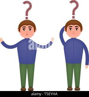 Guy und Fragezeichen. Vektor Grafik im Comic-Stil - Stockfoto
