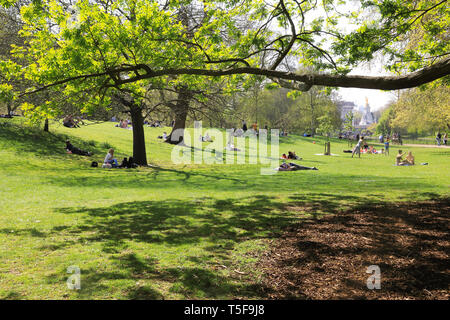 Der wunderschöne St. James Park in der Frühlingssonne, mit Buckingham Palace hinter, in Central London, UK - Stockfoto