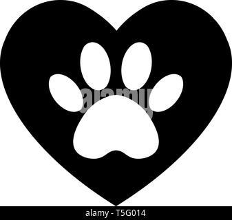 Katze und Hund Pfotenabdruck im Herzen. Der Hund die Spur im Herzen. - Stockfoto
