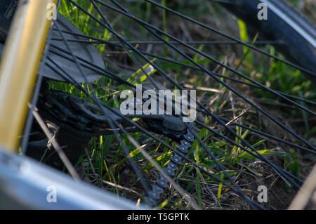 Nahaufnahme Schuß eines Schaltwerk ein Fahrrad mit in das Gras - Stockfoto