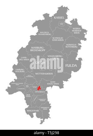 Offenbach County Rot Hervorgehoben Karte Von Hessen Deutschland