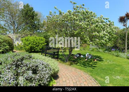 Zwei Leute auf die entspannende Gras unter einem Baum in der Kipling Gärten, Rottingdean, Brighton, Großbritannien - Stockfoto