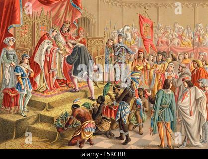 Christoph Kolumbus (1451 --432) Die italienische Explorer kehrt von seiner ersten Reise nach Amerika für ein Publikum mit König Ferdinand und Königin Isabella - Stockfoto