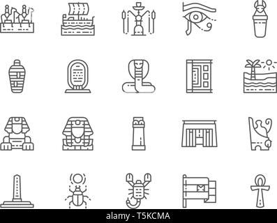 Einstellen der ägyptischen Kultur Zeile für Symbole. Antike Schiff, Caravan, Hookah, Sarkophag, Mami, Wüste, Landschaft, Skarabäus, Schlange und mehr. Packung mit 48 x 48 Pixel ICH - Stockfoto