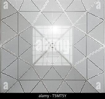 Modernes Metall Decke gepunkteten Muster. Sonneneinstrahlung in die Gebäude aus dem oberen Teil des Daches. - Stockfoto