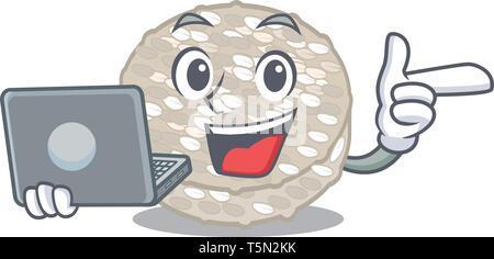 Mit laptop Reis Kuchen im Glas Charakter - Stockfoto