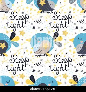 Nahtlose Muster mit schlafenden Vögeln. Vector Illustration für Ihr Design - Stockfoto